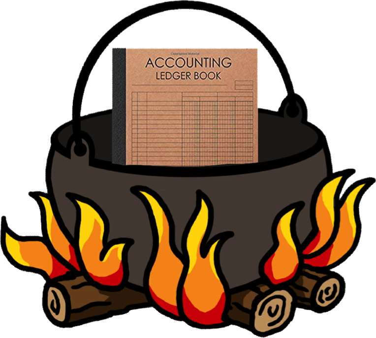 accounting ledger in cooking pot