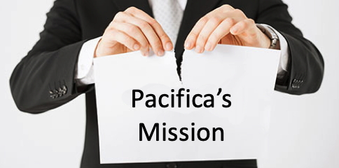person tearing Pacifica's mission document in half